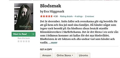 Toppbetyg för Blodsmak på Goodreads